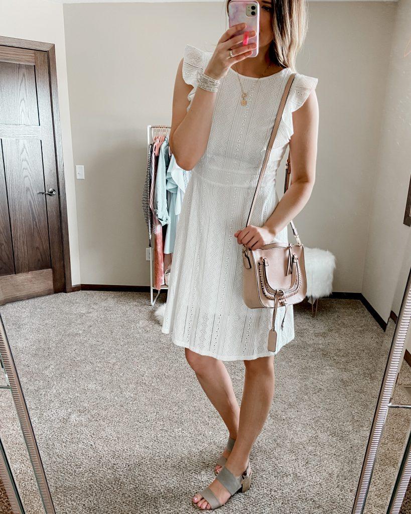 eyelet dress / white lace dress / white flutter sleeve lace dress / straw bag / white dress / spring dresses / white amazon dress / white dress under 50 / satchel bag / sole society bag