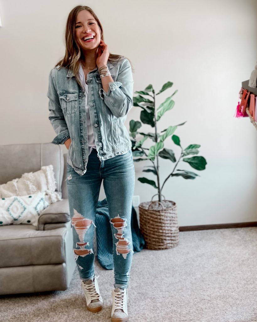 the best jean jacket / old navy tall denim jacket / jean jacket / canadian tuxedo / hightop sneakers / high top tennis shoes