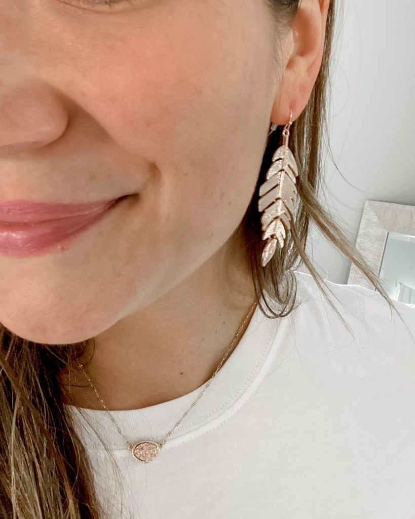 rose gold jewelry / rose gold earrings / amazon earrings / feather earrings / leaf earrings
