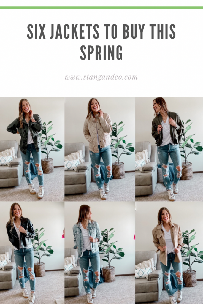 six jackets to buy this spring / faux leather moto jacket / quilted free people inspired jacket / silk bomber jacket / army green star utility jacket / tall length distressed jean jacket / beige shacket / high top sneakers
