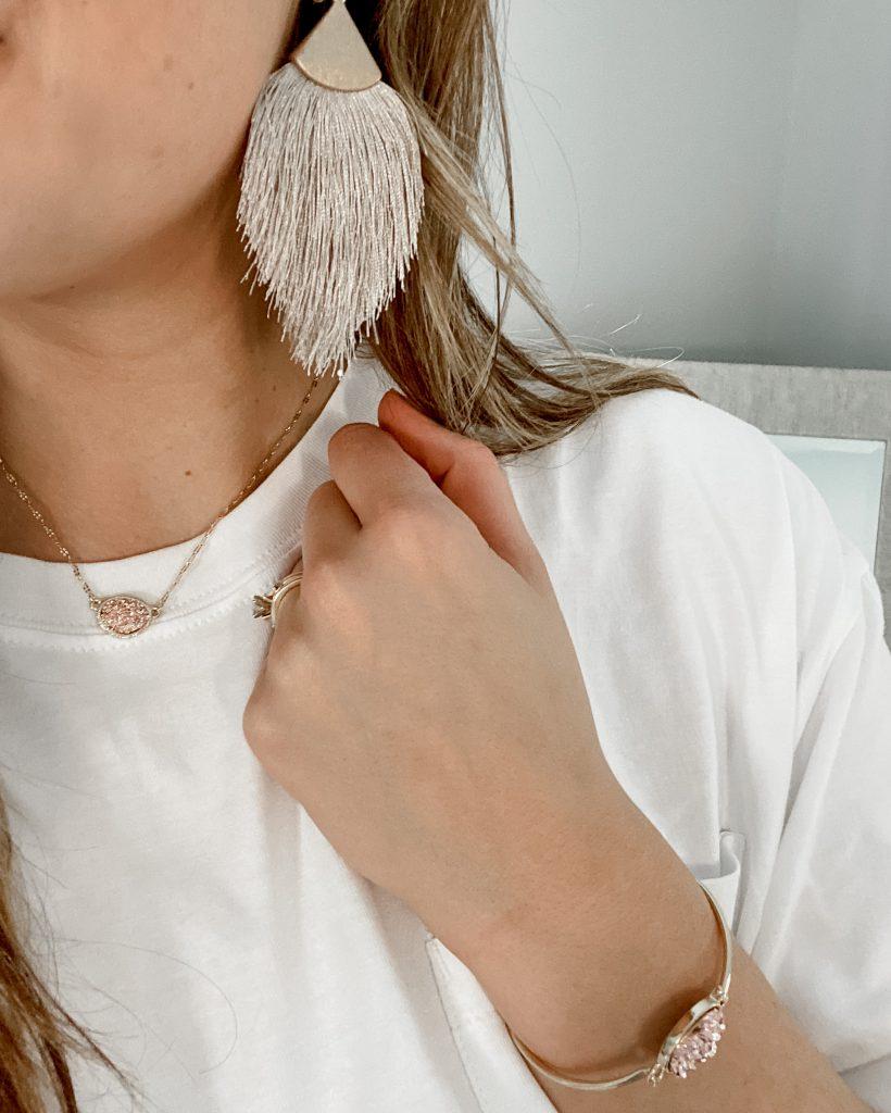 tassel earrings / fringe earrings / feather earrings / geode necklace / rose gold necklace / rose gold jewelry / geode bracelet / blush jewelry / amazon jewelry