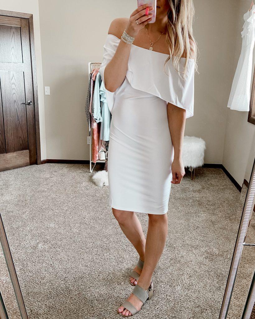 off the shoulder dress / batwing dress / white dress / white bodycon dress / amazon dresses / bridal shower dress / rehearsal dinner dress / dresses under $50