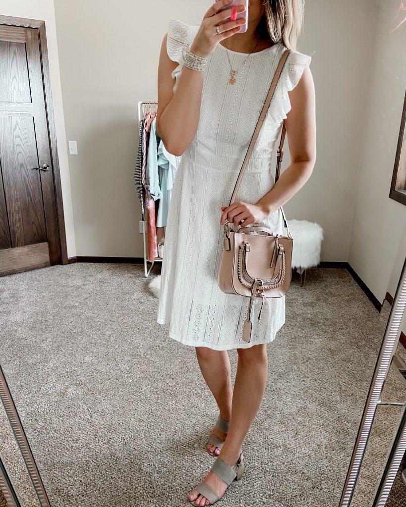 eyelet dress / white lace dress / white flutter sleeve lace dress / straw bag / white dress / spring dresses / white amazon dress / white dress under 50