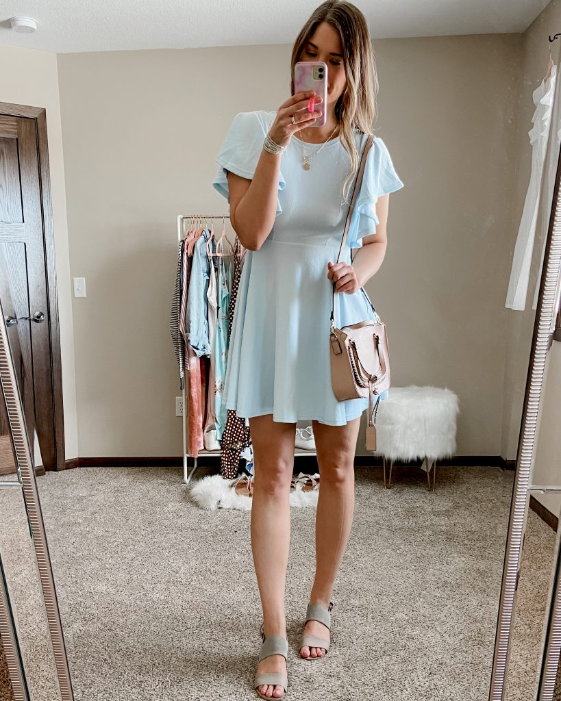 flutter sleeve dress / mini dress / blue mini dress / tan tote bage / amazon dress / dresses under $50 / crossbody bag / destin satchel / sole society bag