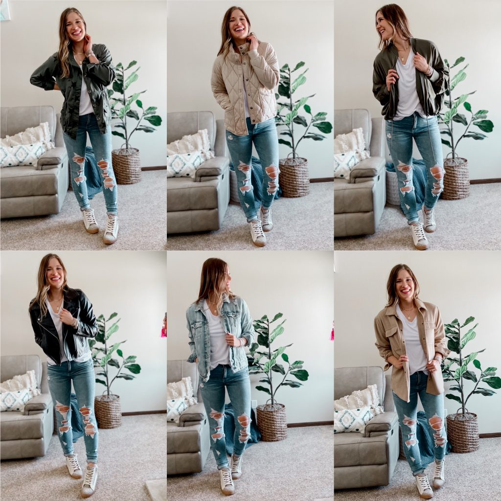 best jackets to buy this spring / spring jackets / faux leather moto jacket / quilted free people inspired jacket / silk bomber jacket / army green star utility jacket / tall length distressed jean jacket / beige shacket / high top sneakers