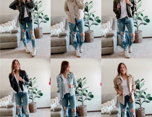 faux leather moto jacket / quilted free people inspired jacket / silk bomber jacket / army green star utility jacket / tall length distressed jean jacket / beige shacket / high top sneakers