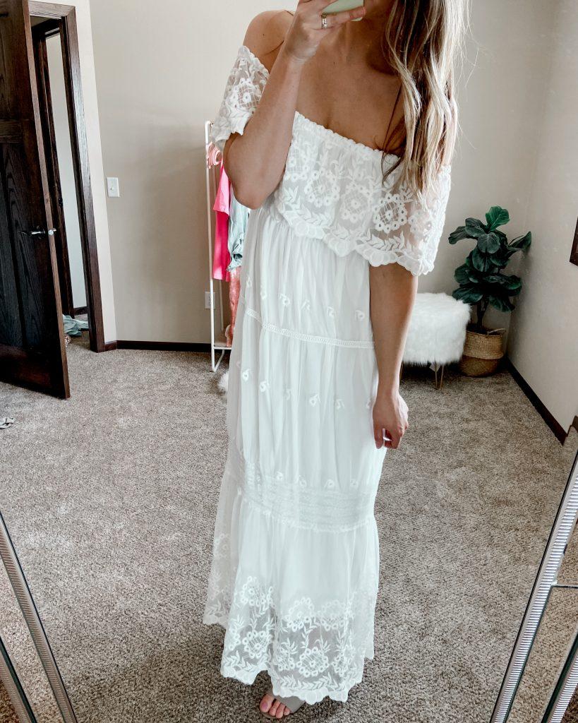 boho dress / white dress / white maxi dress / long white dress / lace off the shoulder dress