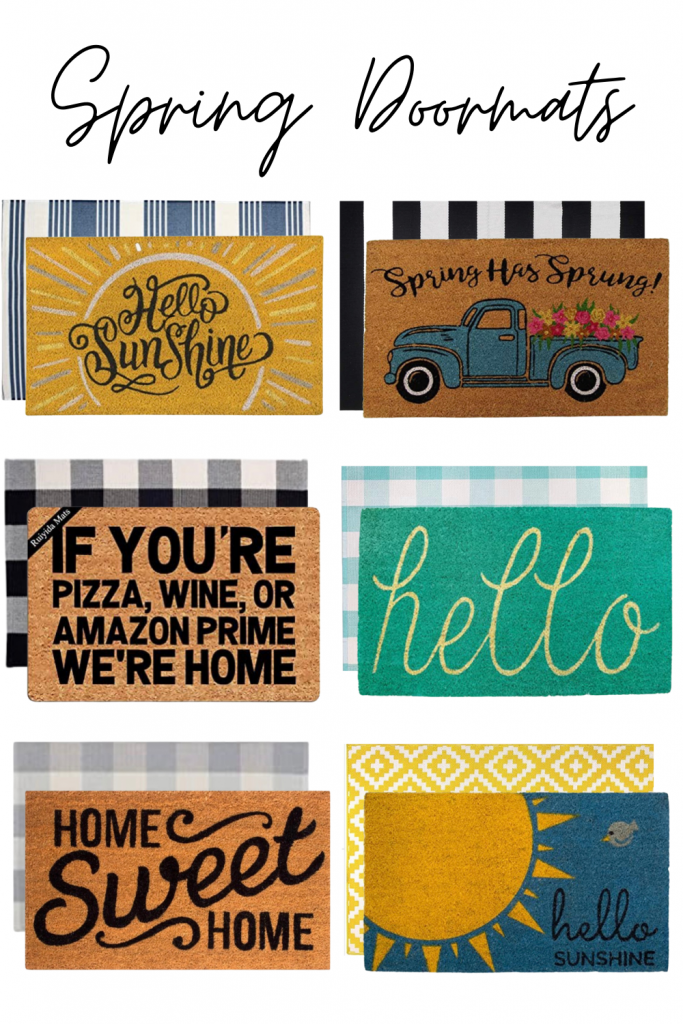spring doormats | layered doormats | teal doormat | hello sunshine doormats | funny doormats | spring is sprung doormat | welcome spring doormat | buffalo plaid doormat | striped door mat | home sweet home doormat