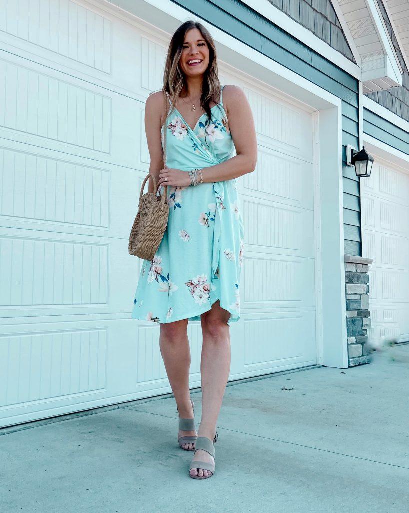 teal dress / teal floral wrap dress / tank top dress / spring dresses / amazon dress / dresses under $50 / dresses under $40 / spring break dress