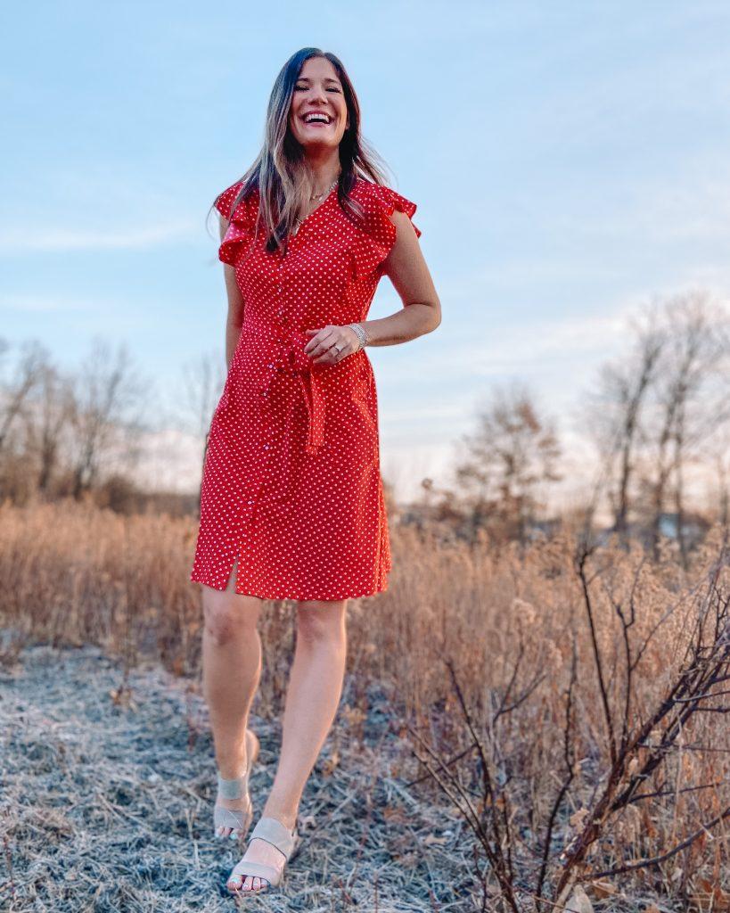 red ruffle polka dot midi dress / amazon dress / retro dress / red button front dress / amazon dress / spring dress // easter dress / wedding guest dress
