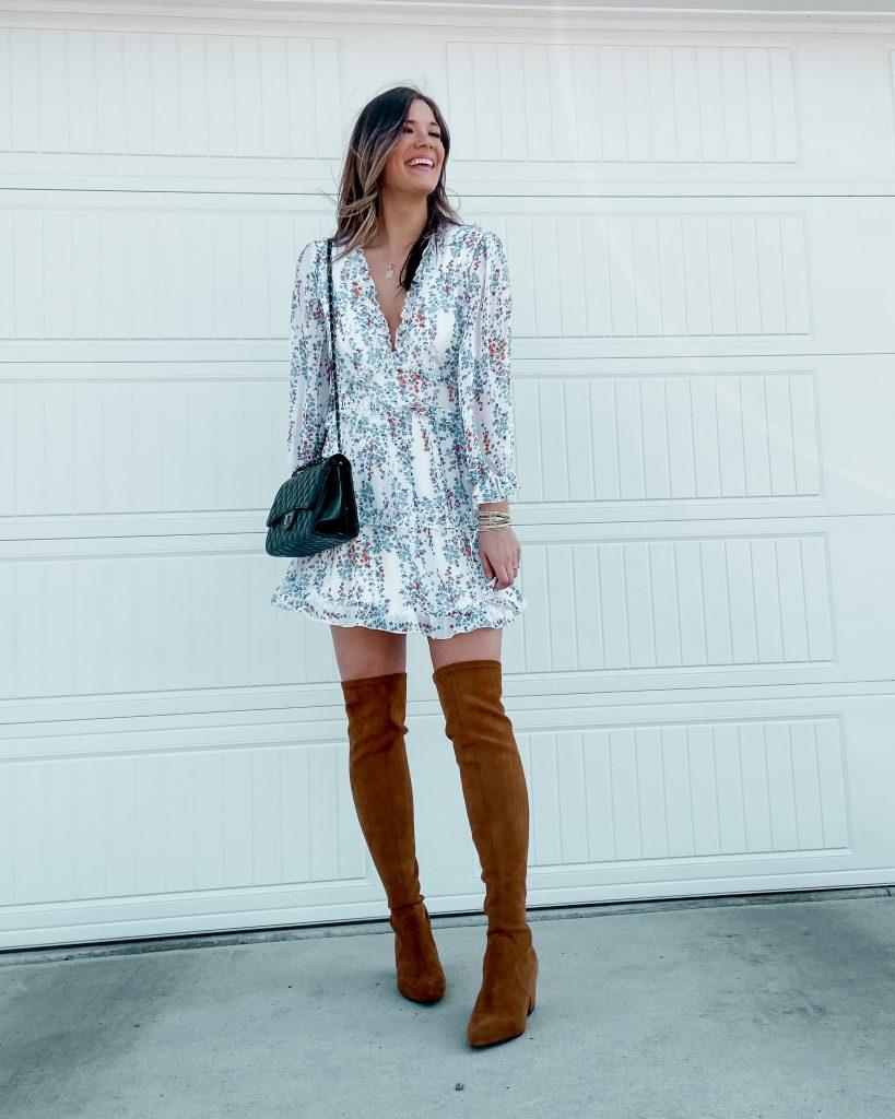 otk boots / camel boots / floral dress / mini dress / ruffle mini dress/ open back mini dress/ amazon dresses / spring dresses / dresses under $50