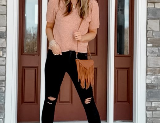 puff short sleeve sweater with black distressed target skinny jeans and brown sandals with fringe crossbody bag