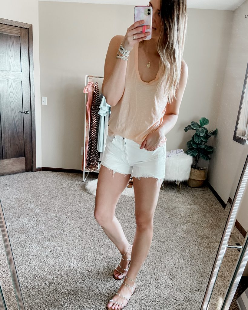 $5 target tank top with white abercrombie mom shorts and clear studded sandals