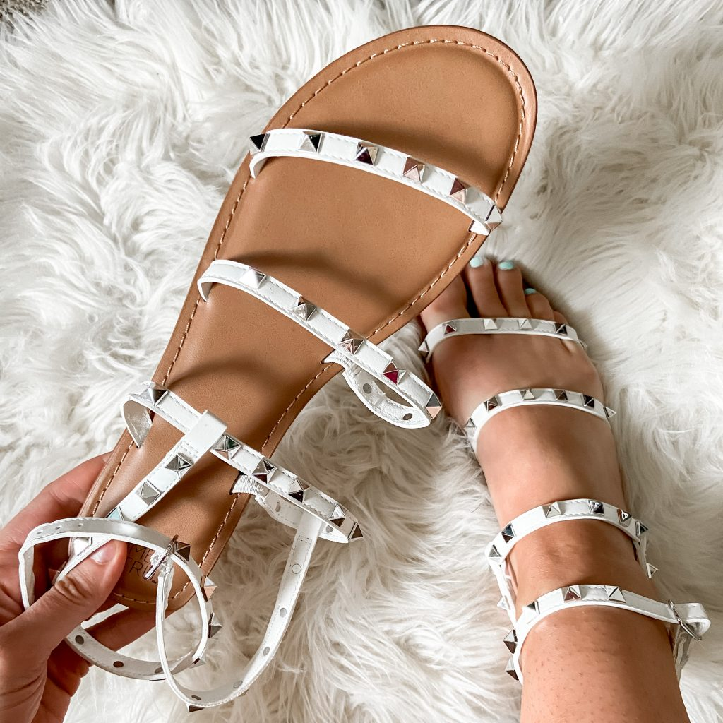 white studded gladiator sandals | walmart sandals | steve madden travel lookalike sandals