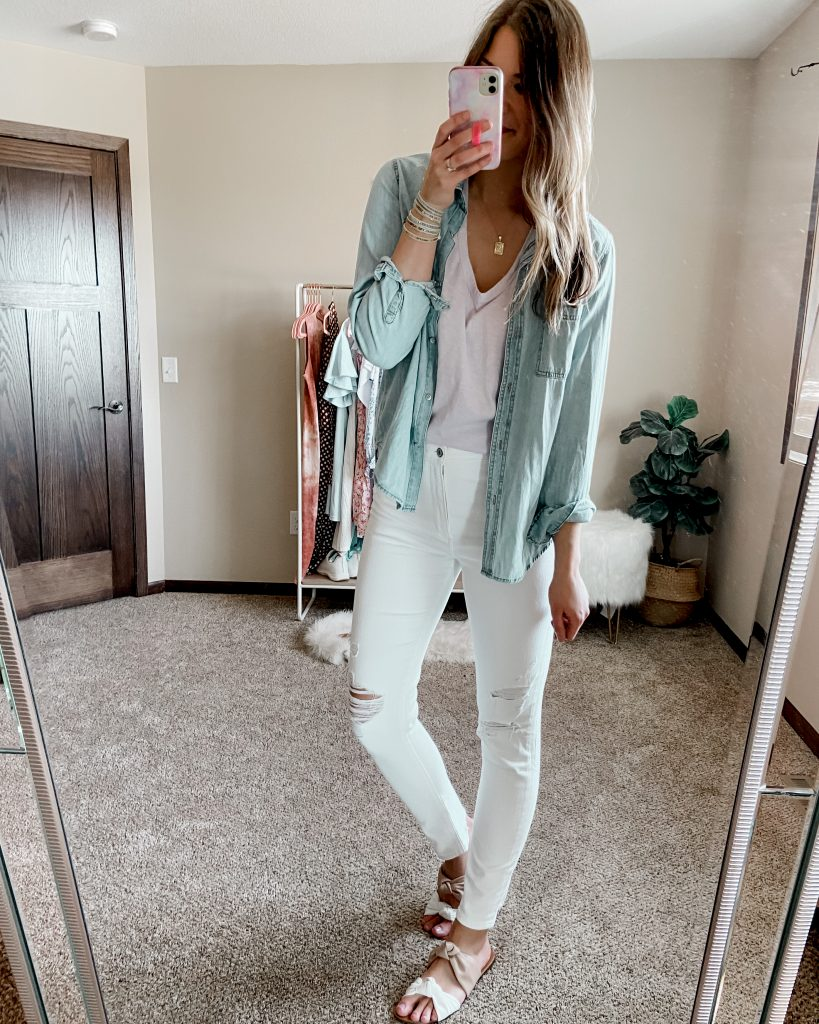 universal thread chambray top with lavender $5 tank top and white abercrombie skinnt jeans | walmart sandals | pink and white sandals