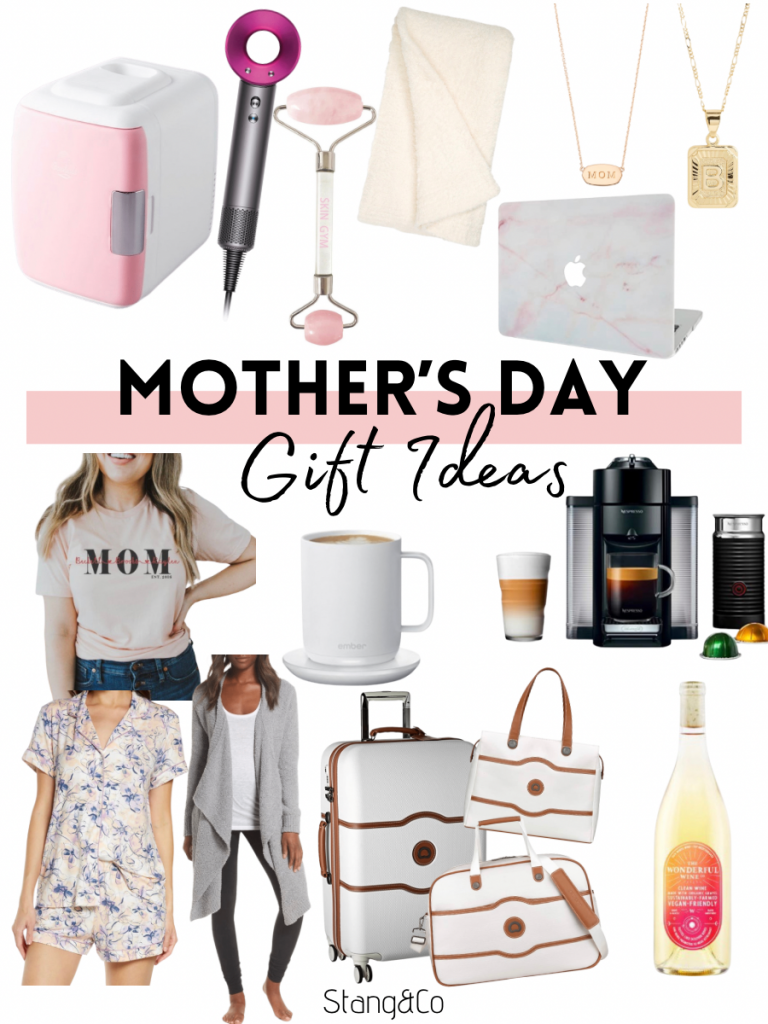 mothers day gift ideas | mothers day gifts | Mini Makeup Refrigerator // Dyson Dryer // Rose Quartz Roller // Barefoot Dreams Blanket // Laptop Cover // Mom Necklace // Initial Necklace // Mom Tee // Pajamas // Plush Cardigan // Heated Coffee Mug // Nespresso with Frother // Large luggage // Carry On Bag // Weekender Bag // Winc Wine Subscription