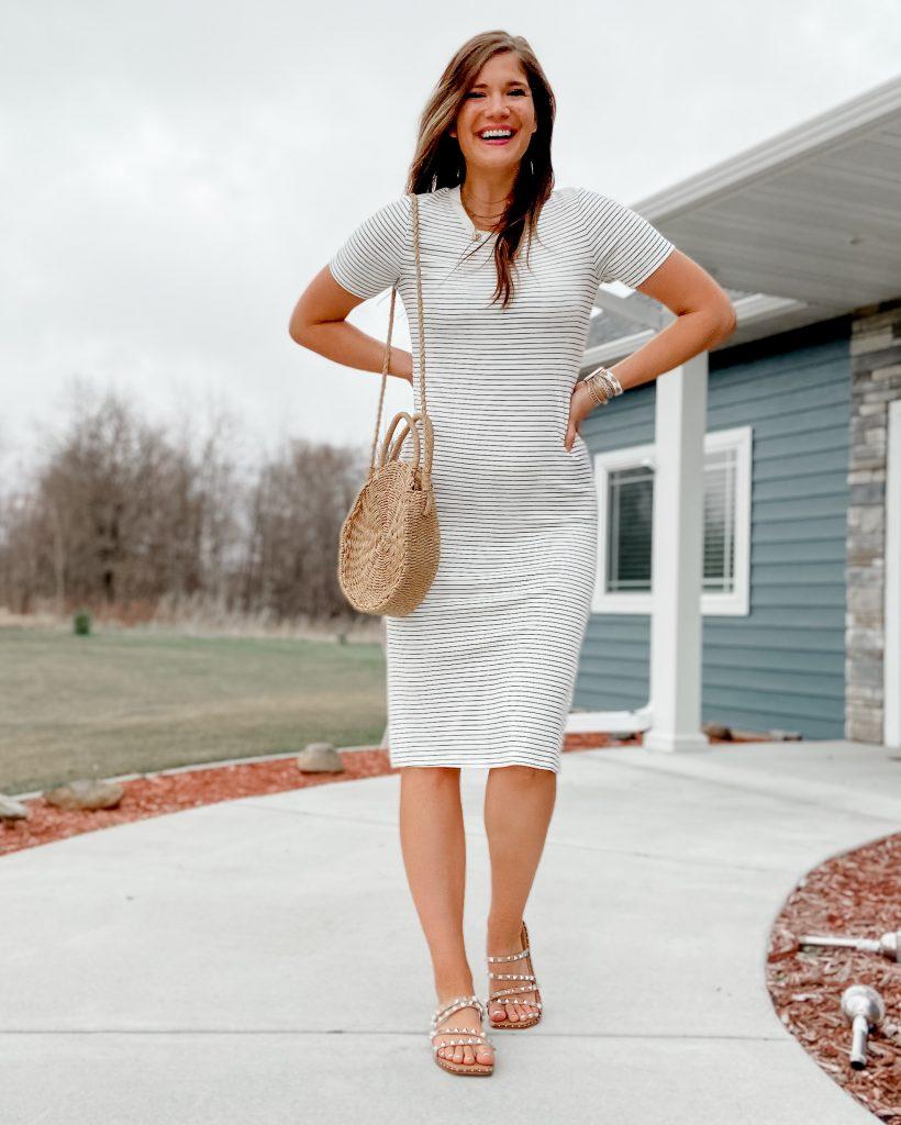black and white striped midi dress / straw amazon bag / steve madden skyler sandals