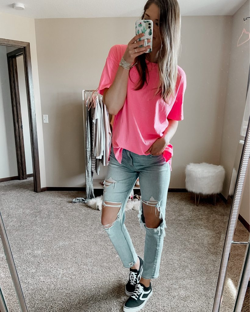neon pink oversized tee // american eagle mom jeans / black vans dupe sneakers for $15