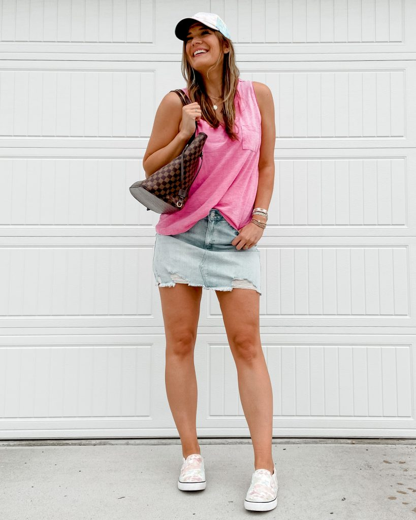 pink v neck $7 tank top / walmart tank top / madewell tank top dupe / jean skirt / tie dye sneakers / checkered tote