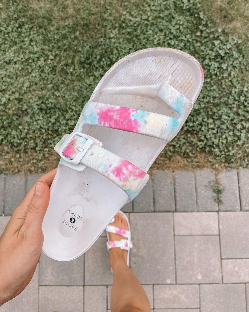 target sandals / birkenstock lookalikes / tie die // footbed sandals