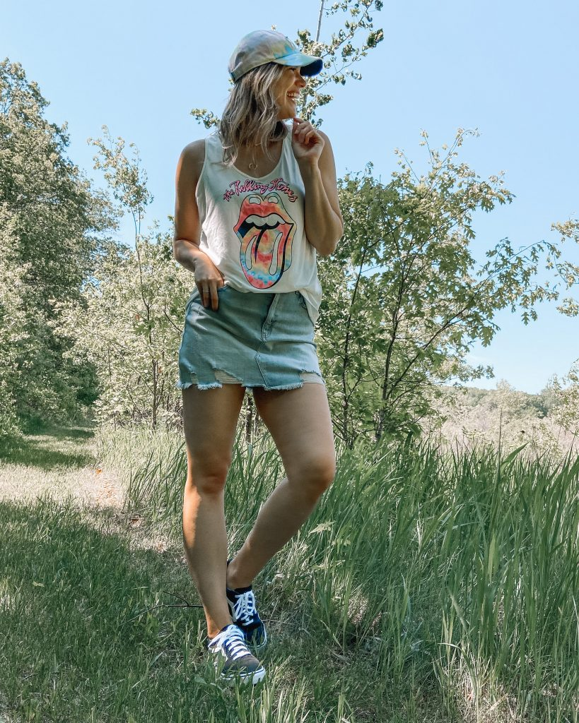 $15 walmart sneakers with jean skirt and rolling stones tank top