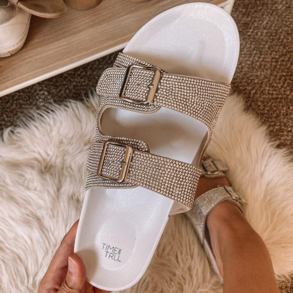 walmart $20 rhinestone slide sandals / steve madden dupe sandals