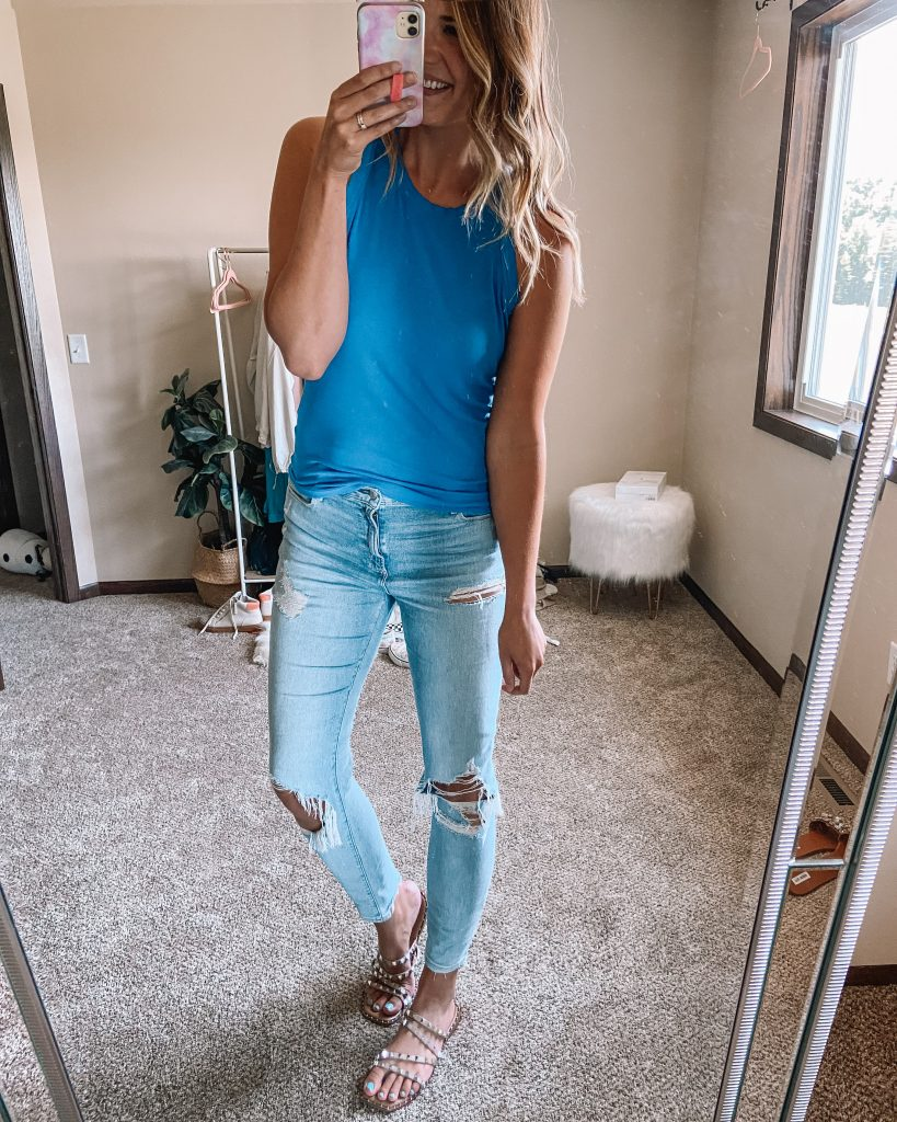 abercrombie high rise skinny jeans / blue amazon tank top / light wash skinny jeans / distressed skinny jeans