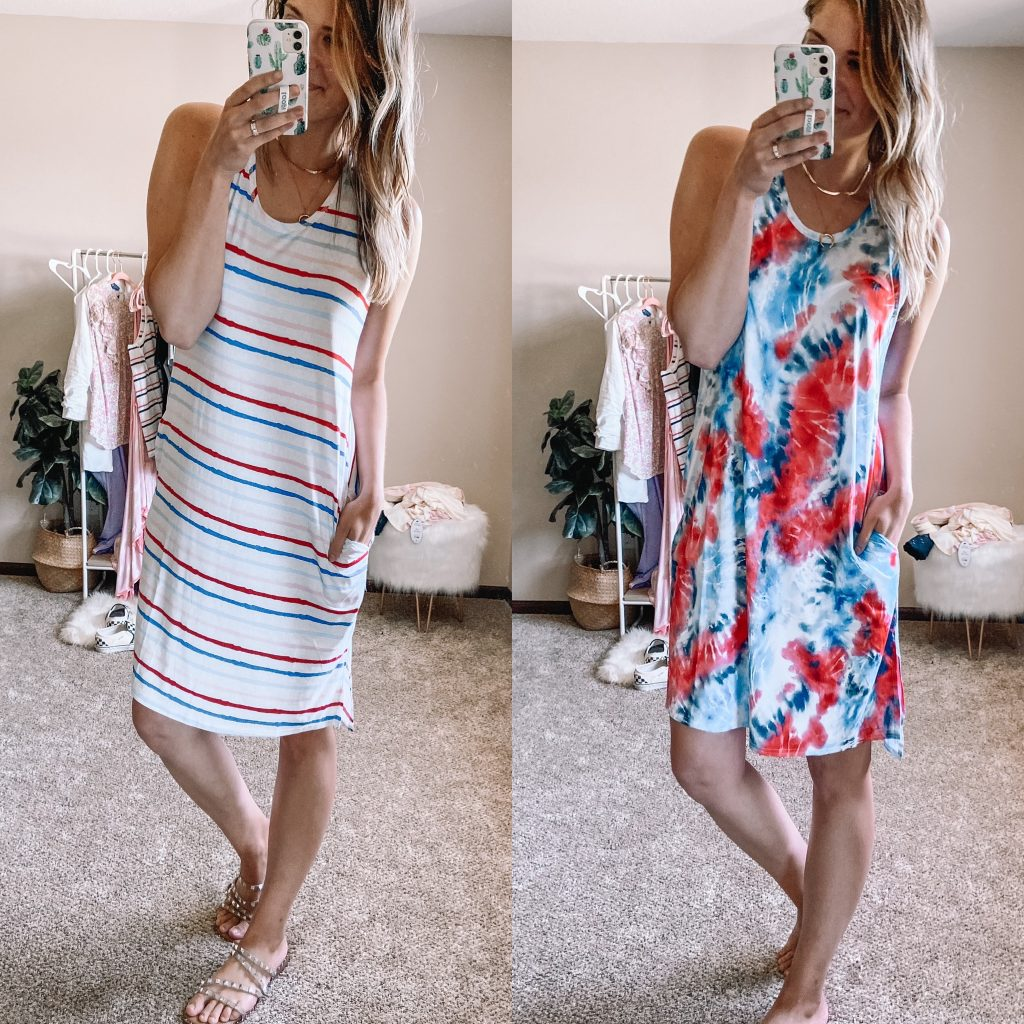 $12 super soft sleep dress / walmart pajamas / sleep dress / tie dye sleep dress / red white and blue tank dress