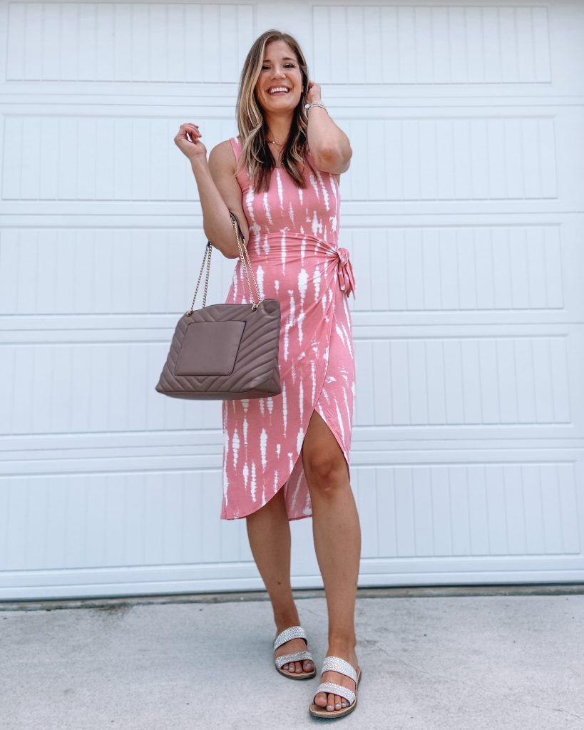 tie dye wrap dress // walmart dress / steve madden skyler sandals